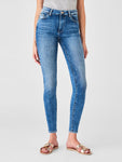 slight acid wash ankle high rise skinny jeans