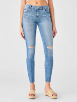 mid rise ankle knee slightly ripped blue jeans