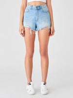 high rise light denim ripped shorts 100% cotton