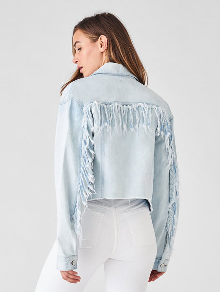 cowboy denim cropped jacket light blue sustainable