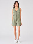 military green tencel jumpsuit short