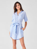 blue stripe linen dress sustainable