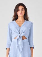 blue striped cropped 3/4 sleeve top linen