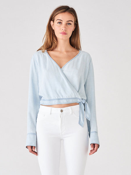 wrap top light blue 100% tencel