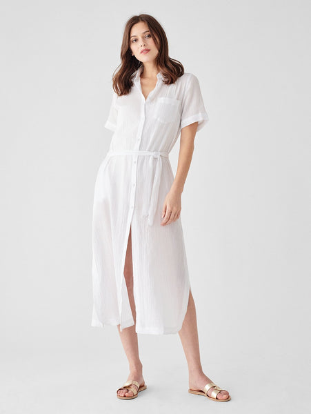 long white buttoned dress short sleeves