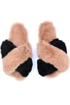 black and beige salmon color fluffy alpaca slide shoes