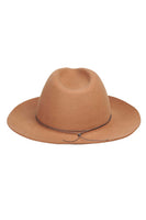 panama style camel brown wool hat back