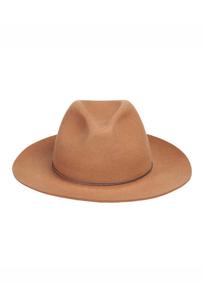 panama style camel brown wool hat front