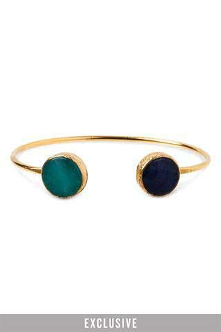golden gem cuff green aqua color