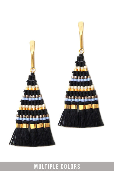 black tassel interesting earrings handmade with glass and 24k gold beads