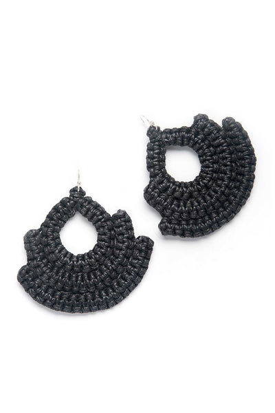 artisan knitted black earrings