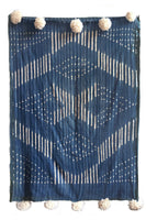 indigo mudcloth blue handmade cotton throw with pom poms