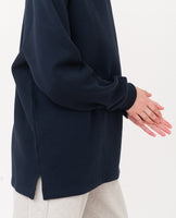 navy oversized organic cotton sweatshirt side zoom