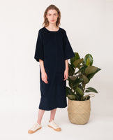oversized organic cotton black dress front
