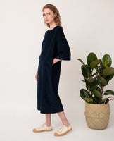 oversized organic cotton black dress side