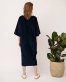 oversized organic cotton black dress back