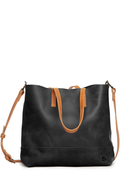 black and cognac brown stylish crossbody tote bag