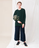 dark green knitted oversized jumper front