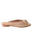 suede and leather tan colored opened mules