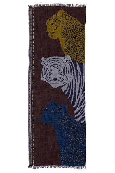 jungle animals pattern brown wool scarf