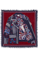 deep blood red and navy blue interesting print wool scarf