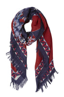 deep blood red and navy blue print wool scarf