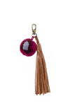 red and brown cotton mayan pom pom and leather tassel keychain