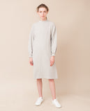 simple organic cotton light grey cream warm long sleeved dress front