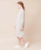 simple organic cotton light grey cream warm long sleeved dress side