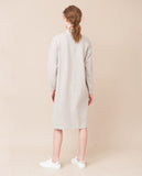 simple organic cotton light grey cream warm long sleeved dress back