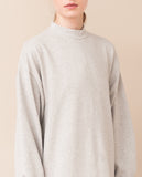 simple organic cotton light grey cream warm long sleeved dress zoom