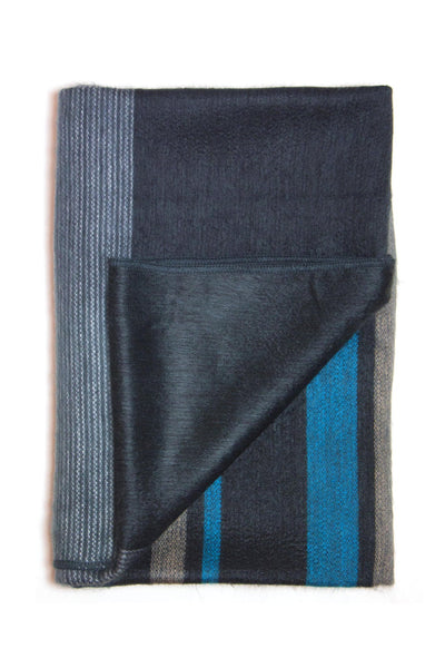 dark navy blue striped alpaca wool throw