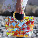 colorful woven artisan handbag