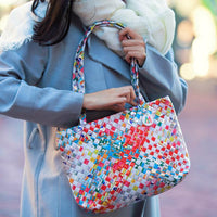 artisan colorful woven mini shoulder bag