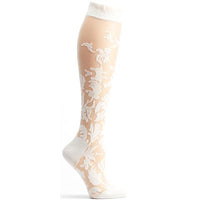 white damask floral print high quality socks