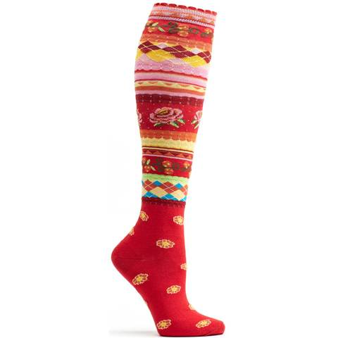 red stripe print floral sock high quality