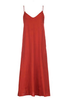 long red cotton slip dress thin straps