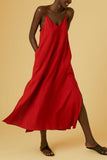 long red cotton slip dress