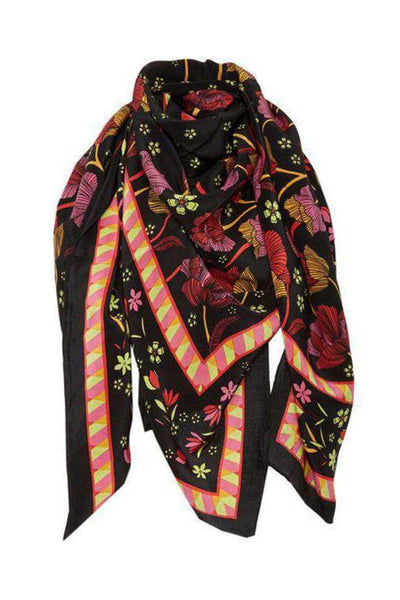 patterned scarf with floral print and geometric borders in black, chartreuse, marigold and pink