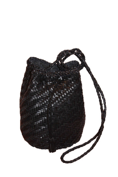 black leather pom pom double jump bag