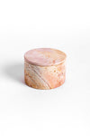 rose and peach colored marbled soapstone round decorative jewellery box