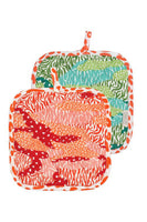 colorful big cat patterned pot holders