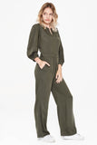 military green panelled long sleeved jumpsuit with gathered shoulder with wide cuff