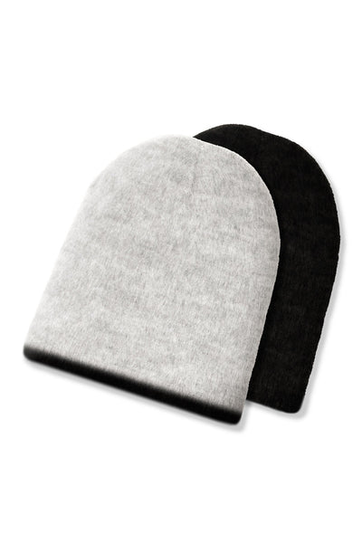 grey and black reversible alpaca wool beanie
