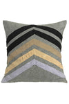 chevron embroidered grey pillow with lilac gold black and bronze pattern