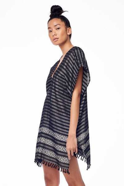 handwoven black and white striped caftan dress