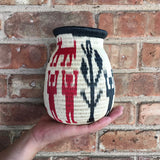 art artisan made vase with ethnographic print design
