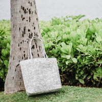 white woven shoulder bag