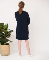 dark navy organic cotton dress relaxed fit  back