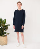 dark navy organic cotton dress relaxed fit front